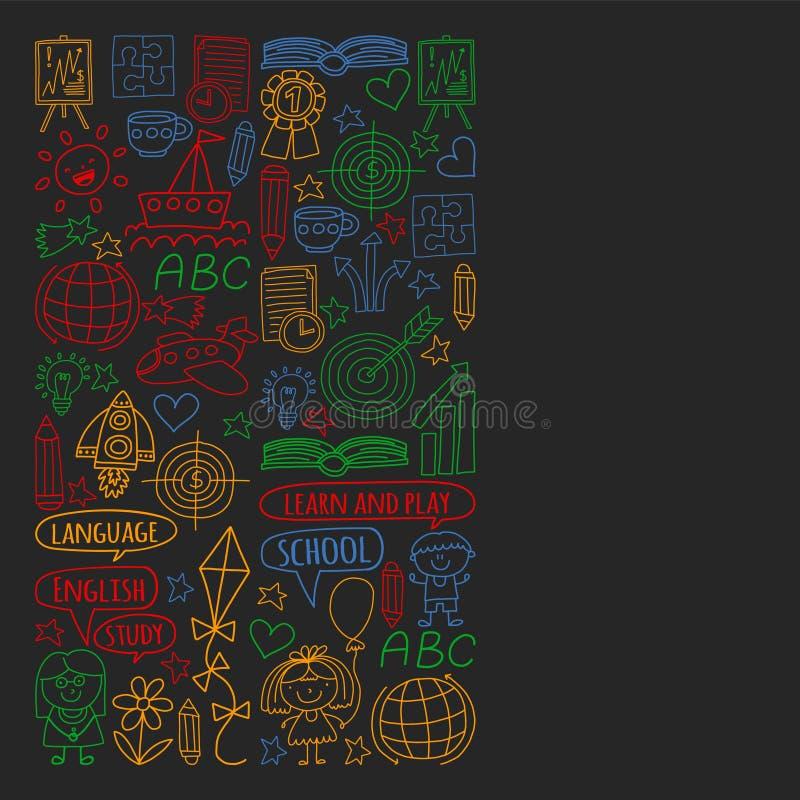 Insieme di vettore di apprendimento della lingua inglese, bambini  ?icone di disegno di s nello stile di scarabocchio Dipinto, va royalty illustrazione gratis
