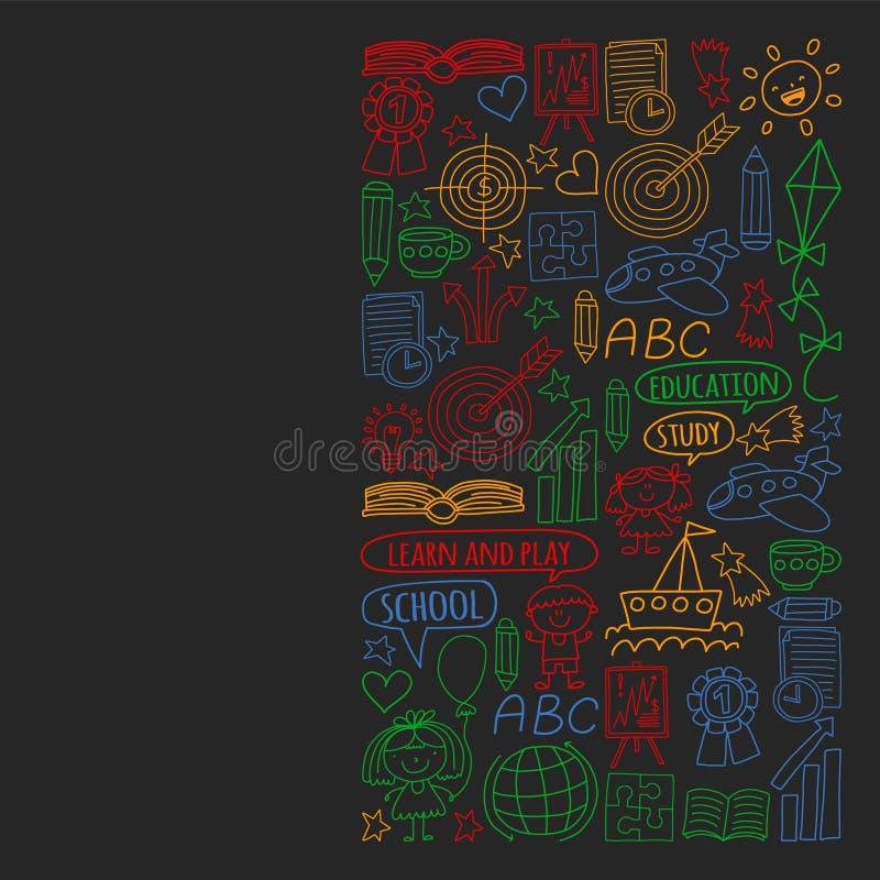 Insieme di vettore di apprendimento della lingua inglese, bambini  ?icone di disegno di s nello stile di scarabocchio Dipinto, va illustrazione vettoriale