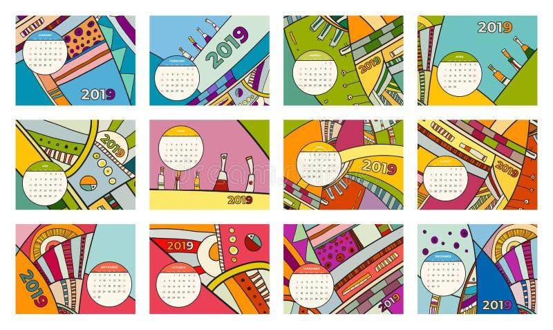 insieme di vettore di arte contemporanea dell'estratto di 2019 calendari Scrittorio, schermo, mesi da tavolino 2019, un modello v illustrazione di stock