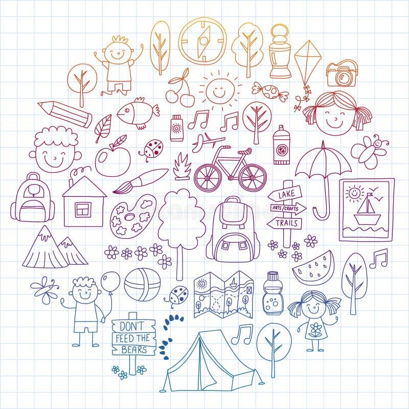 Insieme di vettore di campeggio, facente un'escursione le icone per i piccoli bambini Vacanza dei bambini di asilo e della scuola illustrazione di stock