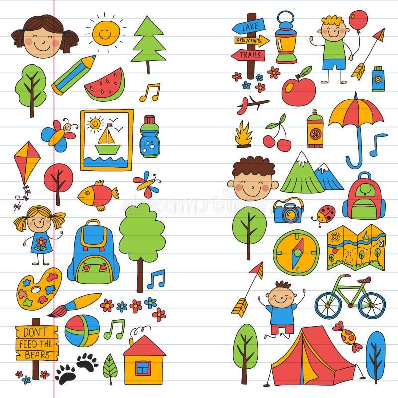 Insieme di vettore di campeggio, facente un'escursione le icone per i piccoli bambini Vacanza dei bambini di asilo e della scuola royalty illustrazione gratis