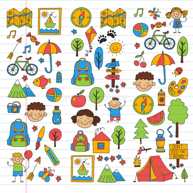 Insieme di vettore di campeggio, facente un'escursione le icone per i piccoli bambini Vacanza dei bambini di asilo e della scuola illustrazione vettoriale