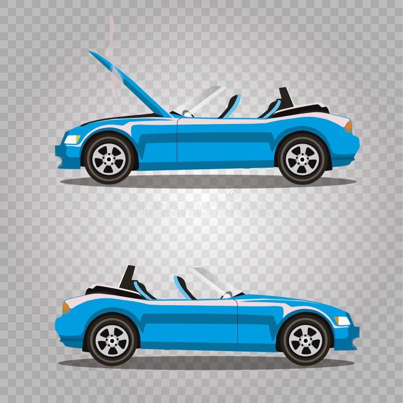 Insieme di vettore di ciano automobile sportiva blu del cabriolet del fumetto rotto prima e dopo l'incidente isolata illustrazione vettoriale