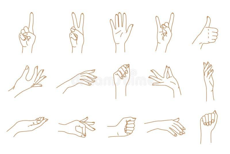 Insieme di vettore di contorno di gesti di mano illustrazione vettoriale