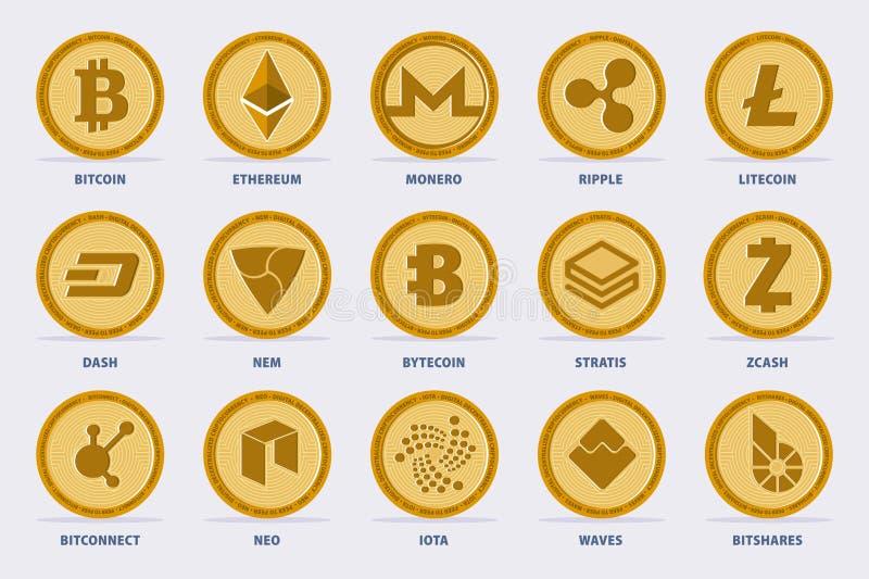 Insieme di vettore di Cryptocurrency royalty illustrazione gratis
