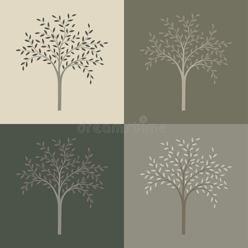 Insieme di vettore degli alberi illustrazione vettoriale