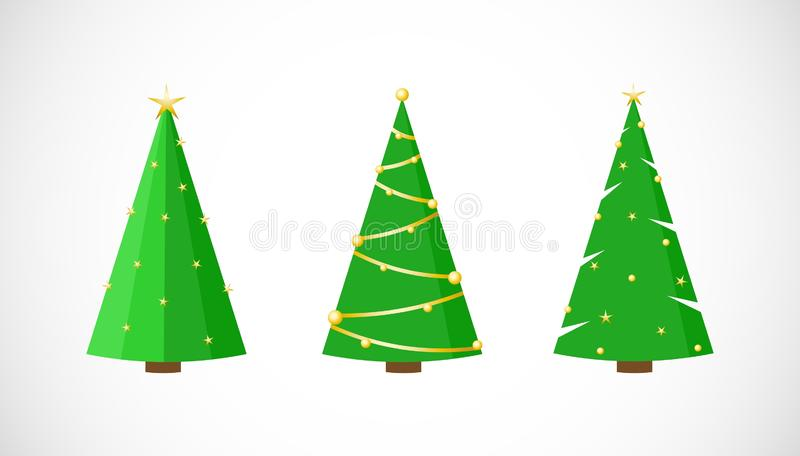 Insieme di vettore degli alberi di Natale festivi con le stelle nello stile piano royalty illustrazione gratis
