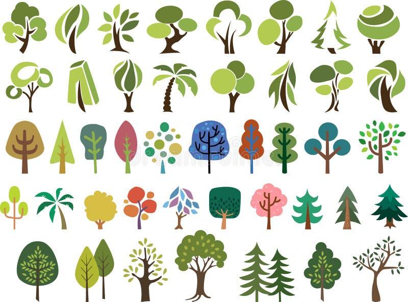 Insieme di vettore degli alberi nello stile differente illustrazione di stock