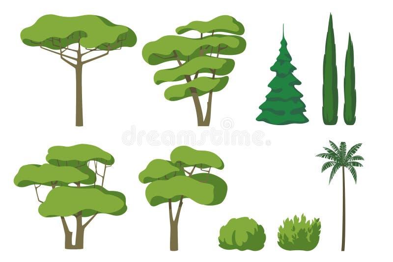Insieme di vettore degli alberi svegli del fumetto isolati su fondo bianco illustrazione di stock