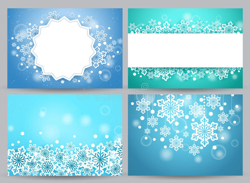 Insieme di vettore degli ambiti di provenienza e delle insegne di inverno con i fiocchi della neve royalty illustrazione gratis