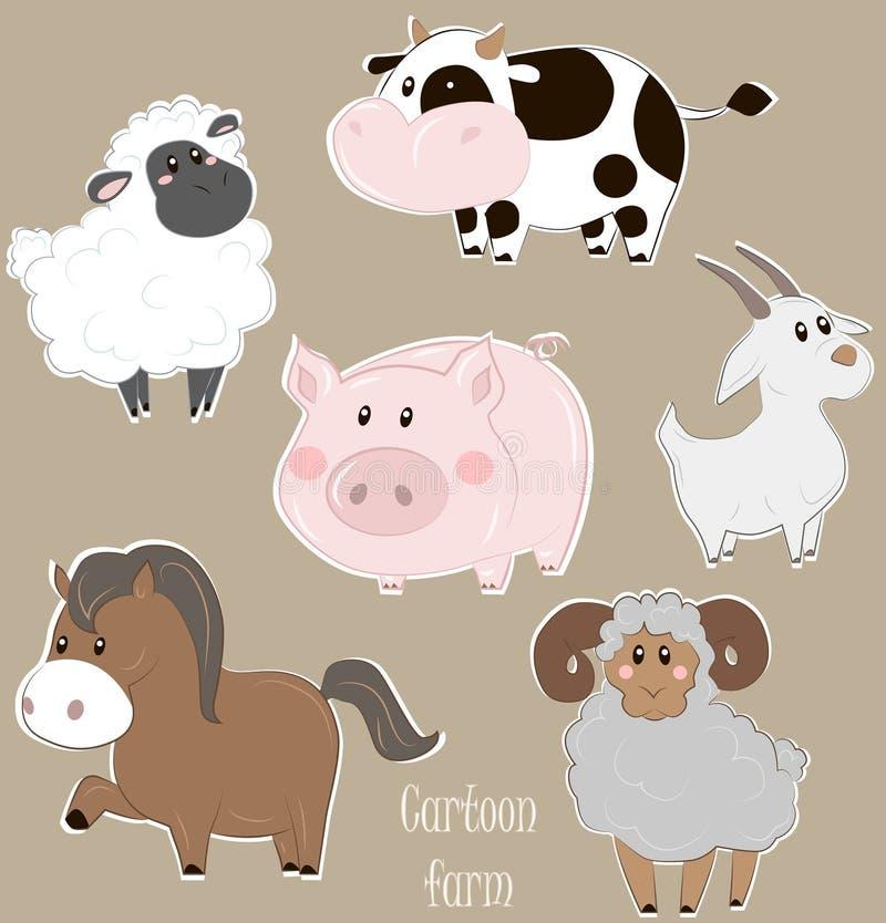 Insieme di vettore degli animali da allevamento del fumetto fotografie stock