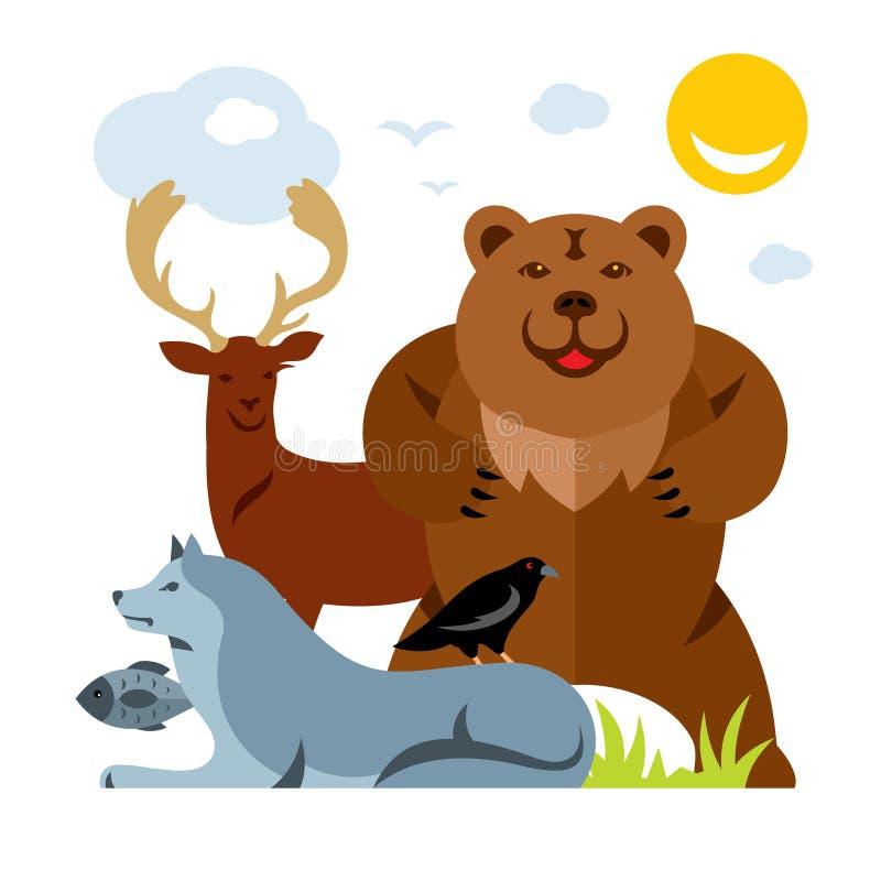 Insieme di vettore degli animali selvatici differenti Illustrazione variopinta del fumetto di stile piano illustrazione di stock