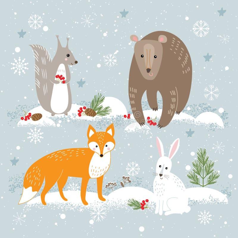 Insieme di vettore degli animali svegli della foresta: volpe, orso, coniglio e squirre royalty illustrazione gratis