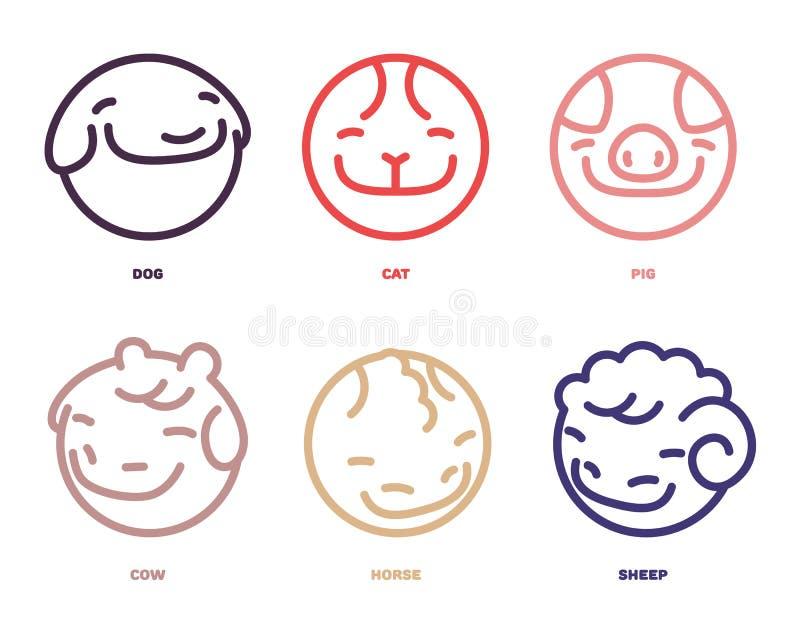 Insieme di vettore degli avatar degli animali di sorriso Il vettore dell'icona degli animali da allevamento e degli animali domes royalty illustrazione gratis