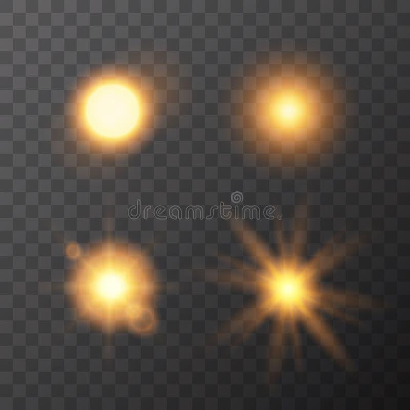 Insieme di vettore degli effetti della luce del sole isolato su fondo scuro illustrazione di stock