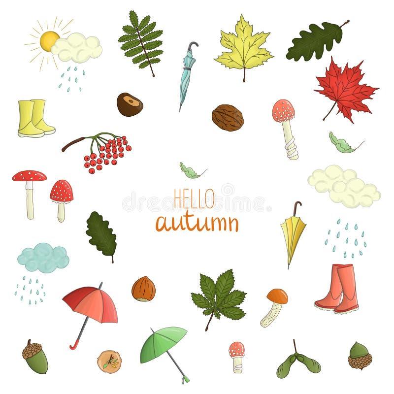 Insieme di vettore degli elementi colorati di autunno illustrazione di stock