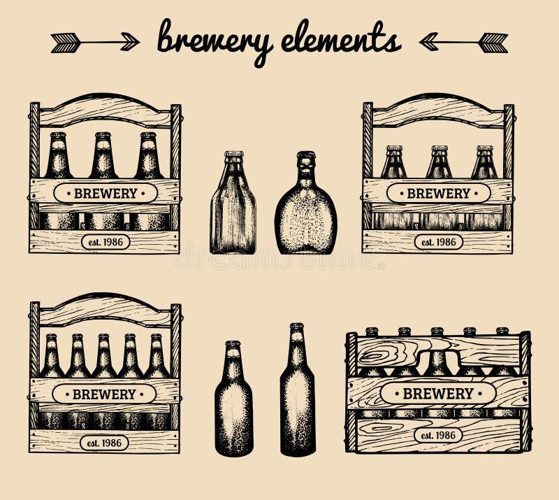 Insieme di vettore degli elementi d'annata della fabbrica di birra La retro raccolta con la birra, la lager, birra inglese firma  illustrazione di stock