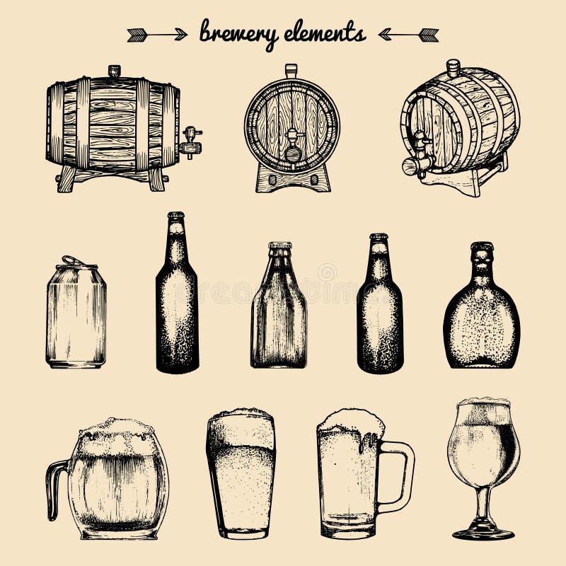 Insieme di vettore degli elementi d'annata della fabbrica di birra Retro raccolta con le icone della birra La lager, birra ingles illustrazione di stock