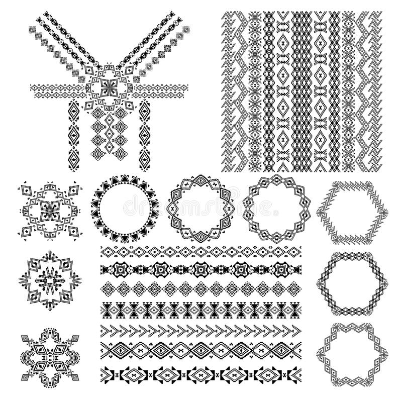 Insieme di vettore degli elementi decorativi per progettazione e modo nello stile tribale etnico Progettazione del collo, modelli illustrazione di stock