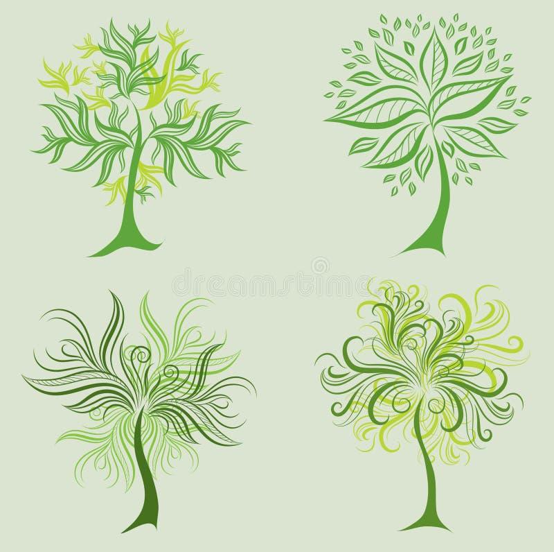 Insieme di vettore degli elementi di disegno dell'albero della sorgente illustrazione di stock