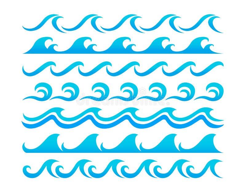 Insieme di vettore degli elementi di progettazione delle onde di acqua illustrazione di stock