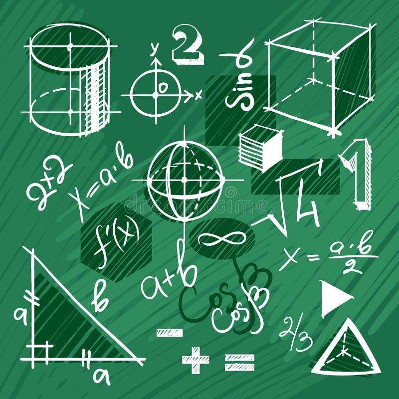 Insieme di vettore degli elementi disegnati a mano di matematica illustrazione vettoriale