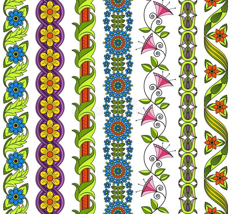 Insieme di vettore degli elementi floreali per la decorazione etnica illustrazione di stock