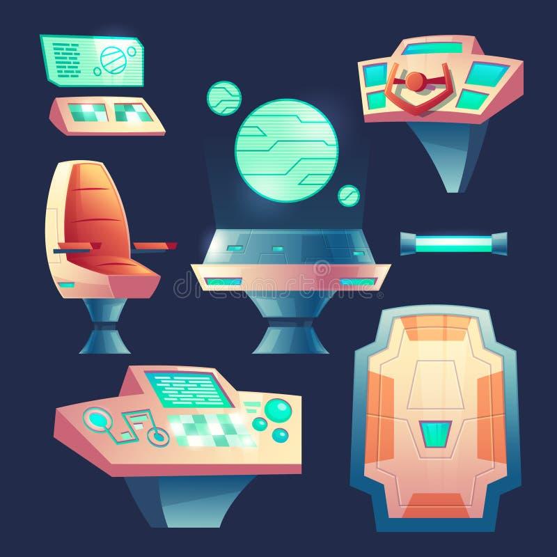 Insieme di vettore degli elementi di progettazione dell'astronave del fumetto royalty illustrazione gratis