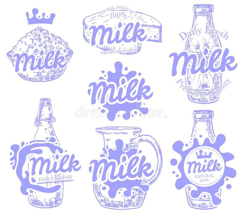 Insieme di vettore degli emblemi del latte, del logos, dei distintivi e delle etichette freschi e naturali royalty illustrazione gratis
