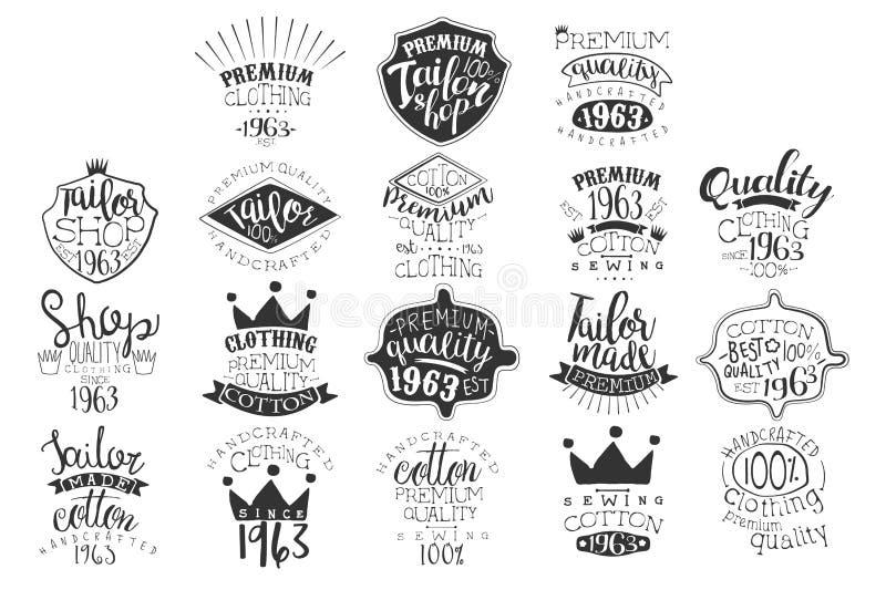 Insieme di vettore degli emblemi monocromatici per il boutique di modo o il negozio fatto a mano dell'abbigliamento Contrassegni  illustrazione vettoriale