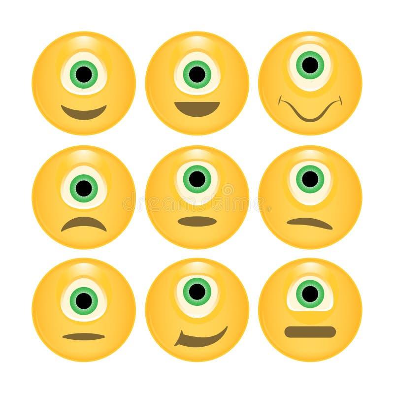 Insieme di vettore degli emoticon lucidi illustrazione vettoriale