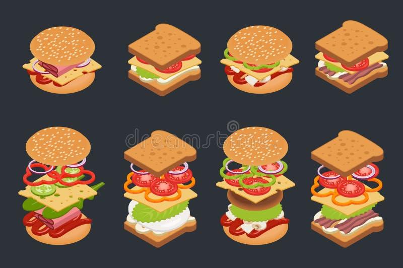 Insieme di vettore degli hamburger e dei panini isometrici illustrazione di stock
