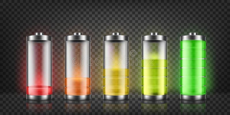 Insieme di vettore degli indicatori di carica della batteria illustrazione vettoriale
