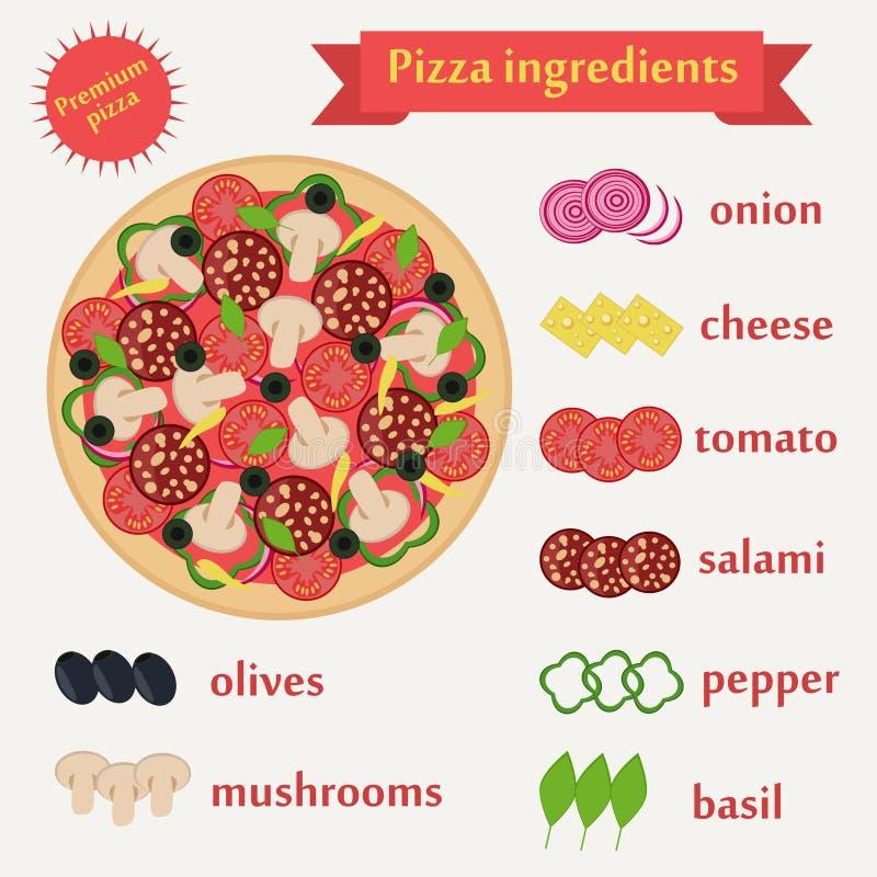 Insieme di vettore degli ingredienti della pizza royalty illustrazione gratis