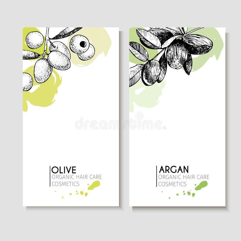 Insieme di vettore degli ingredienti di cura di capelli Elementi disegnati a mano organici Alette di filatoio con oliva e l'argan royalty illustrazione gratis