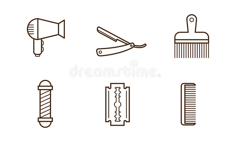Insieme di vettore degli oggetti del parrucchiere Fon, lama, pettine, rasoio manuale e palo del barbiere Icone lineari illustrazione vettoriale