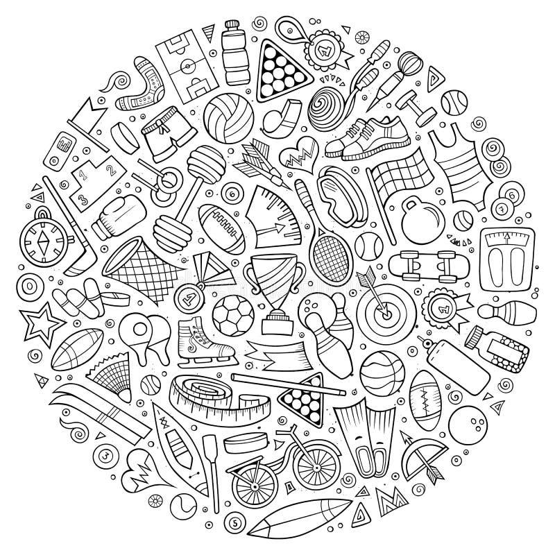 Insieme di vettore degli oggetti di scarabocchio del fumetto di sport illustrazione vettoriale