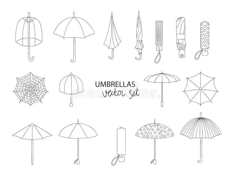 Insieme di vettore degli ombrelli neri illustrazione vettoriale