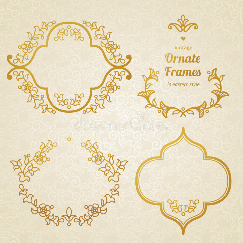 Insieme di vettore degli ornamenti d'annata nello stile orientale illustrazione vettoriale