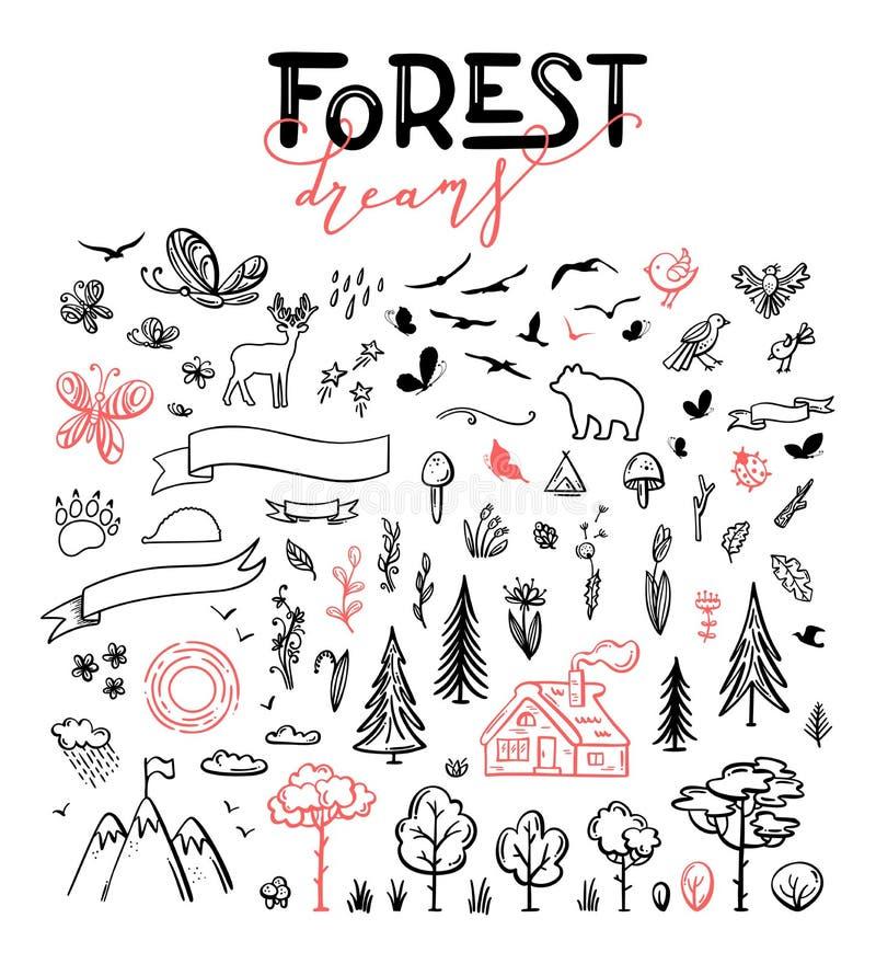 Insieme di vettore degli scarabocchi disegnati a mano della foresta royalty illustrazione gratis
