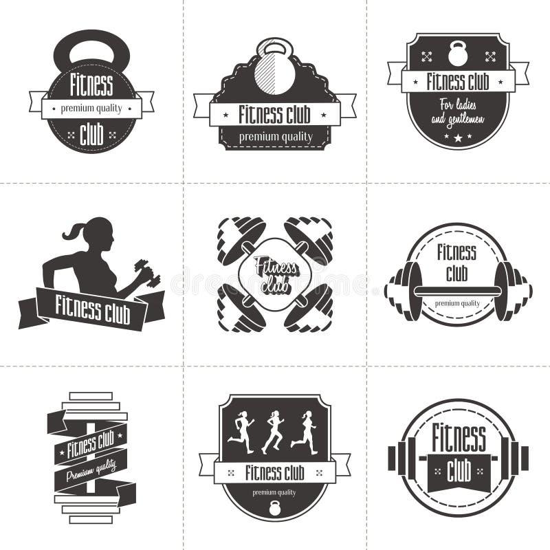 Insieme di vettore degli sport e del logo del club di forma fisica, delle etichette atletiche e dei modelli dei distintivi royalty illustrazione gratis