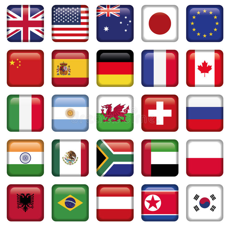 Insieme di vettore degli stati della cima del mondo delle bandiere royalty illustrazione gratis