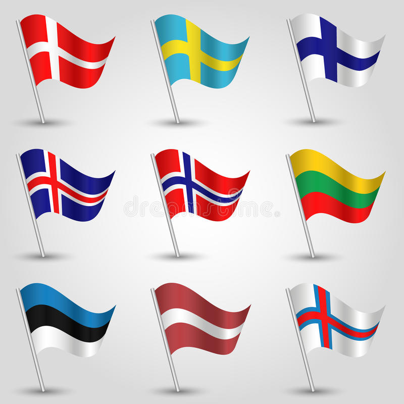 Insieme di vettore degli Stati di bandiera dell'Europa settentrionale illustrazione di stock