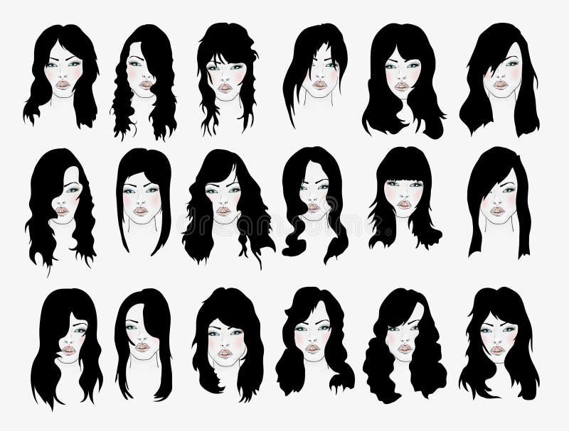 Insieme di vettore degli stili di capelli femminili illustrazione vettoriale