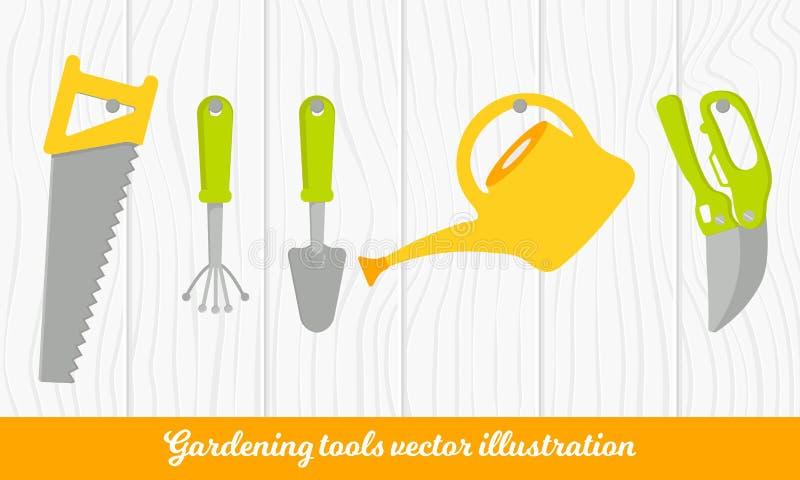 Insieme di vettore degli strumenti per fare il giardinaggio Raccolta di giardinaggio su struttura di legno Stile del fumetto illustrazione di stock