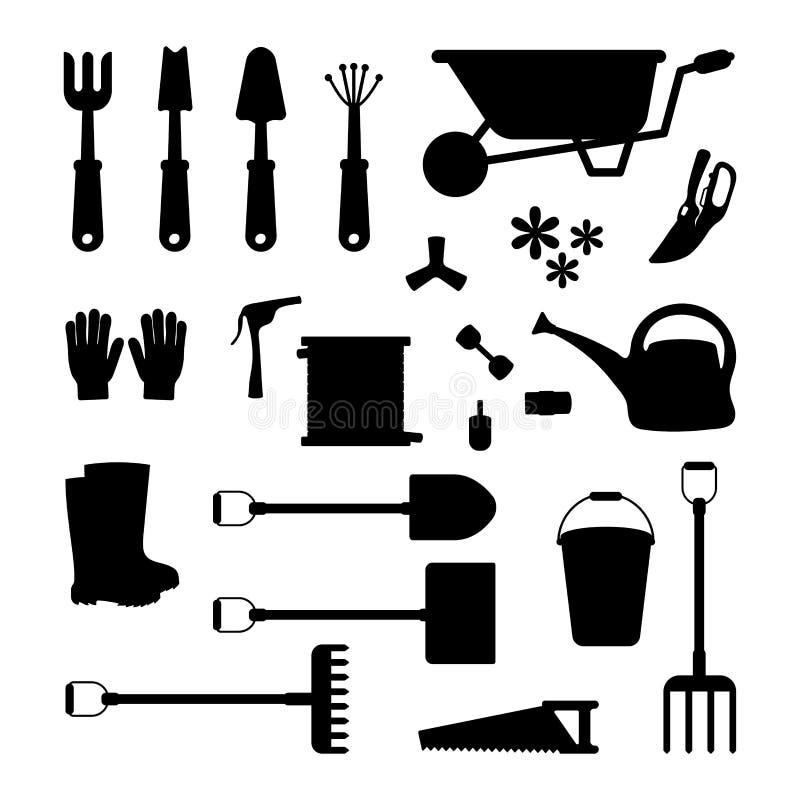 Insieme di vettore degli strumenti per fare il giardinaggio Siluetta dell'icona illustrazione di stock