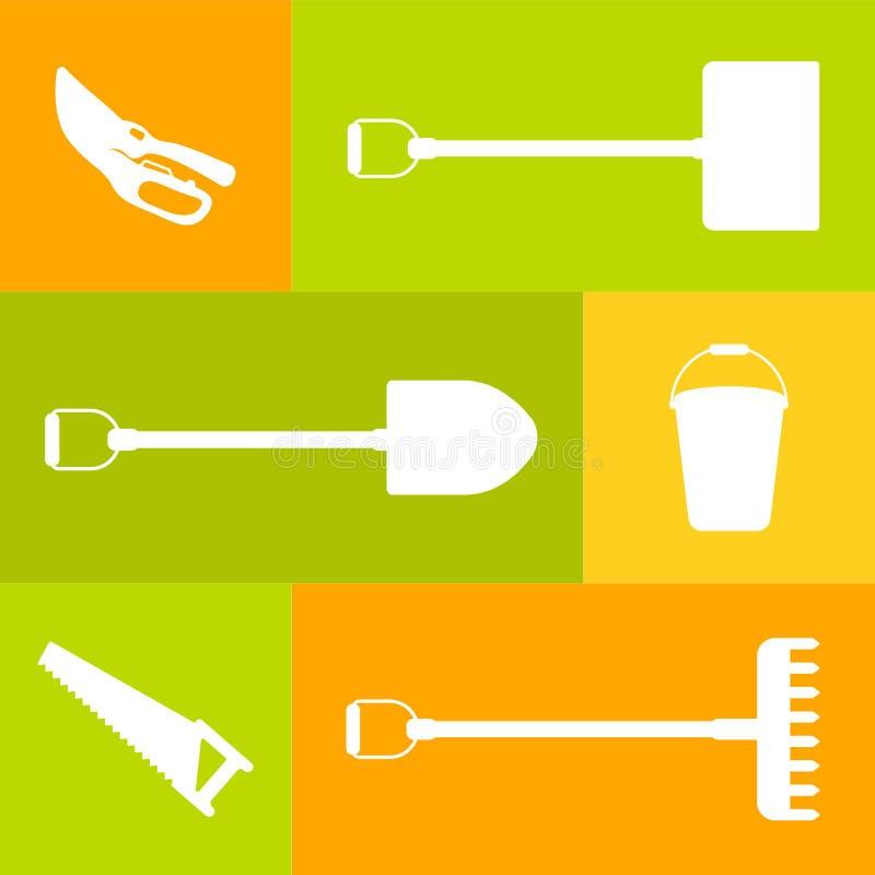 Insieme di vettore degli strumenti per fare il giardinaggio Siluetta dell'icona illustrazione vettoriale