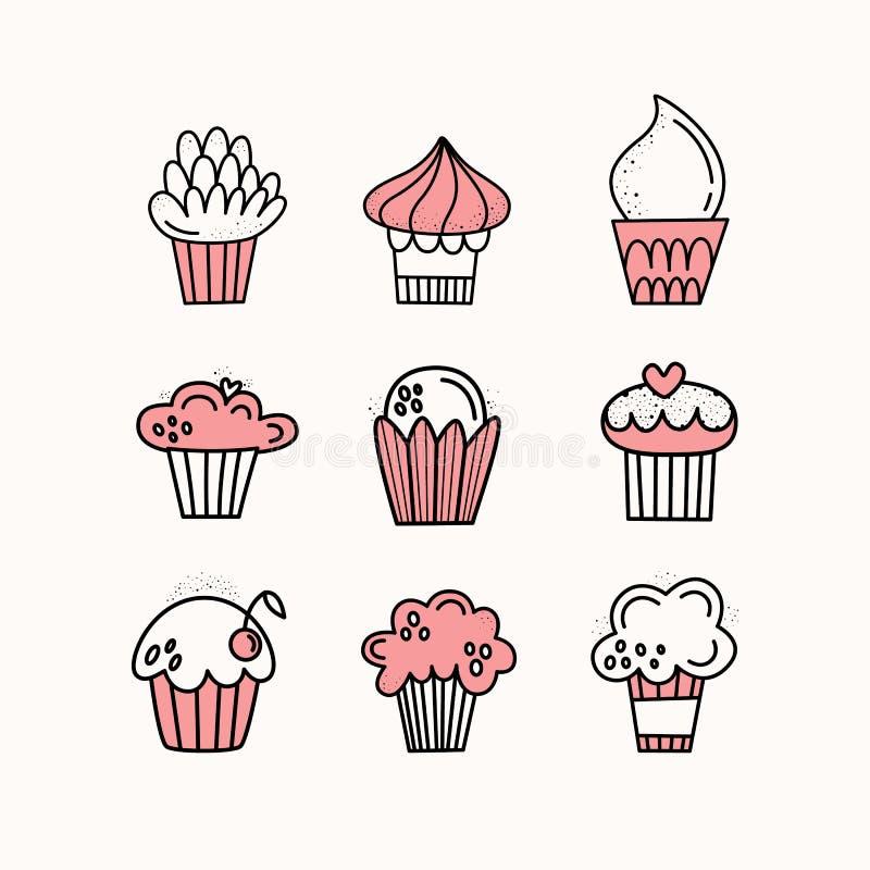 Insieme di vettore dei bigné Muffin, dolci Disegnato a mano Doodle lo stile 9 pezzi di dessert illustrazione vettoriale