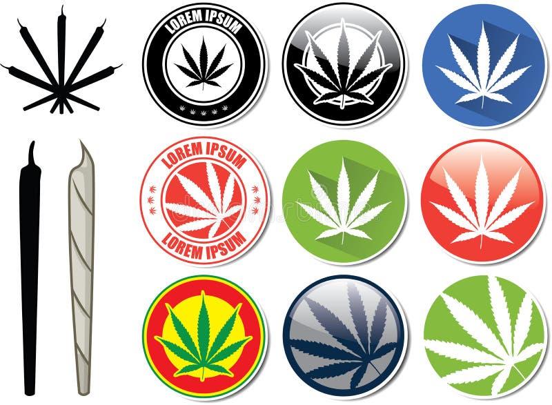 Insieme di vettore dei bottoni della cannabis e della marijuana royalty illustrazione gratis
