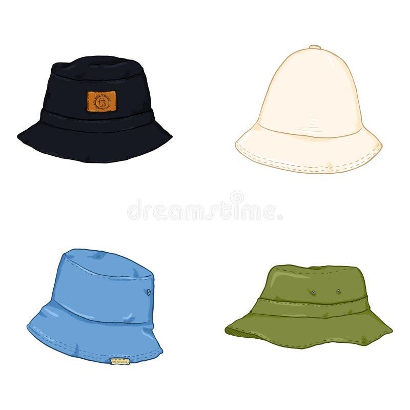 Insieme di vettore dei cappelli del secchio del fumetto Cappelleria hip-hop di stile illustrazione vettoriale